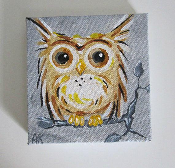 Owl Original Canvas Painting Owl on a Tree by BlueSeaPaintShop, $21.00