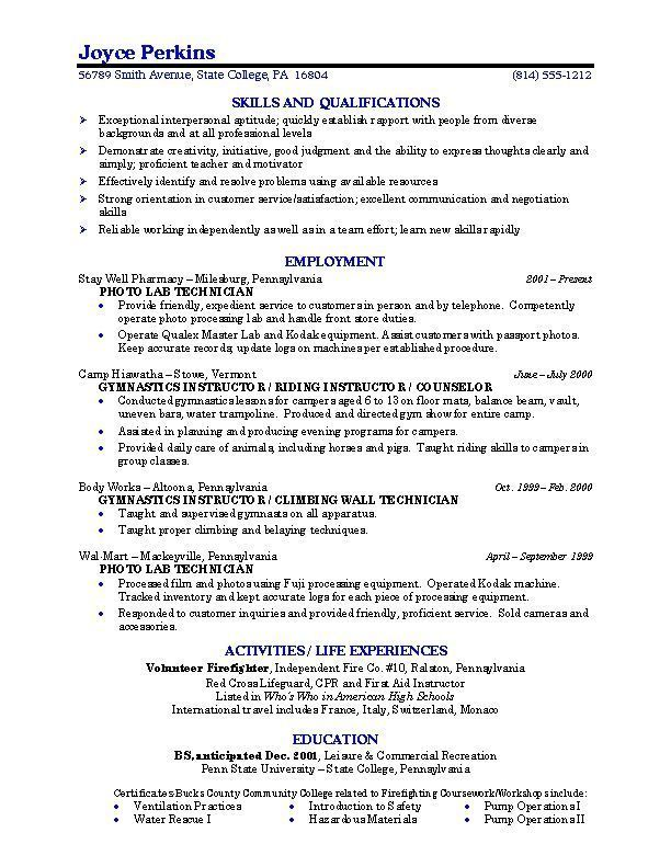 Example Student Resume Resumetipsobjective College Resume