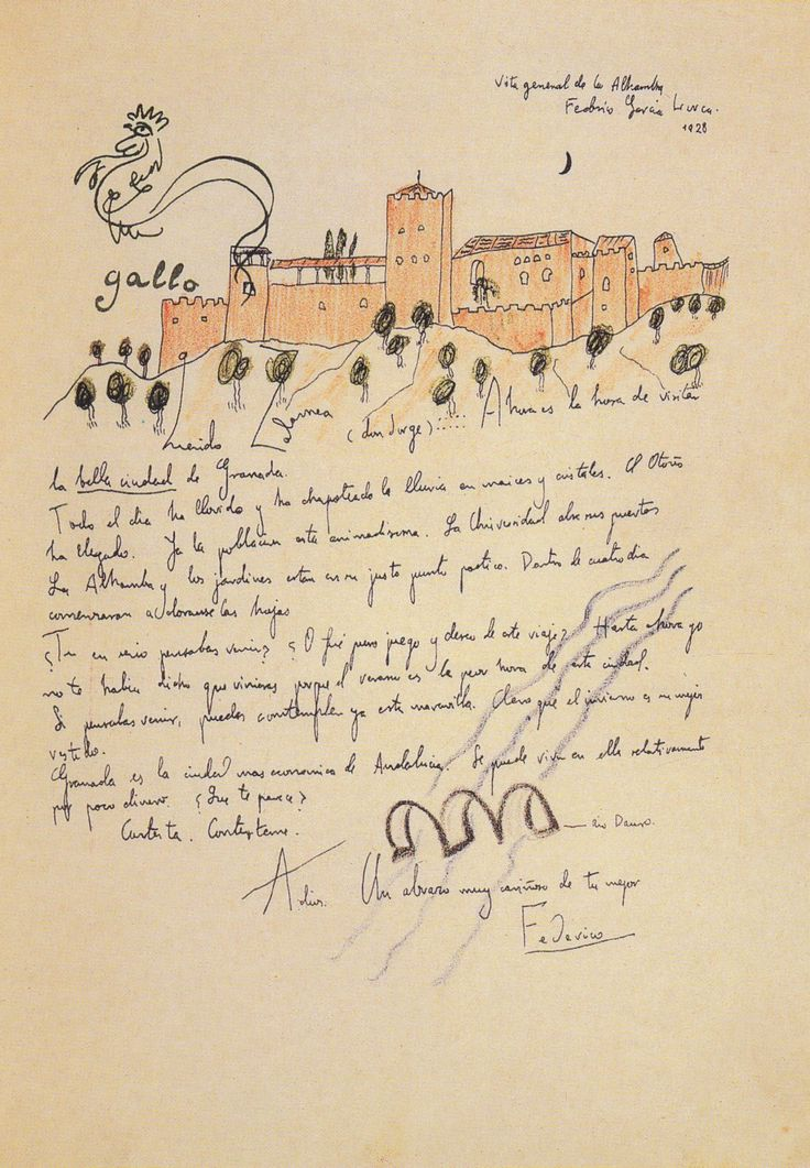 Federico Garcia Lorca, letter with view of the Alhambra, 1928