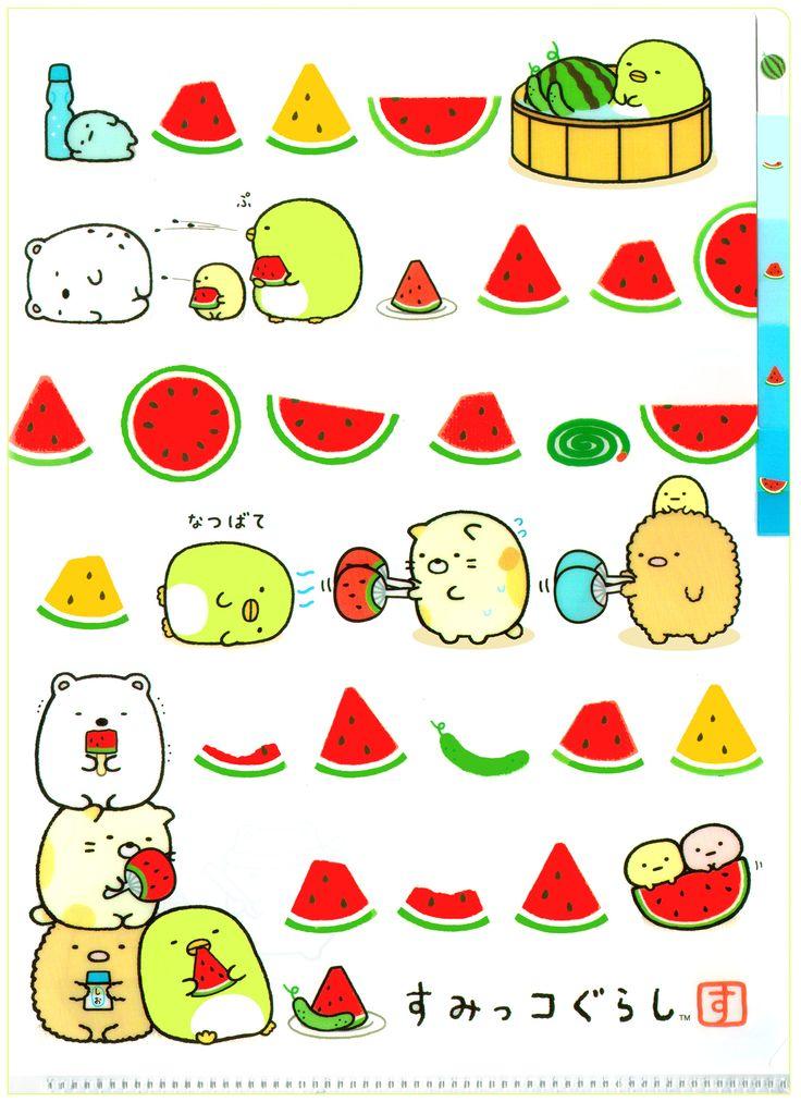 San-x Sumikko Gurashi Watermelon Slice 5-Index File