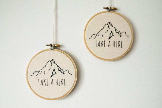 "Mountain Outline with ""Take a Hike"" or ""Get Lost"" Quote - Finished Cross Stitch Product in 4-in Hoop"