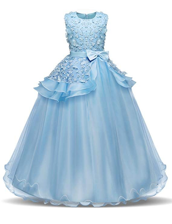 2ea5e8223 NNJXD Girl Sleeveless Embroidery Princess Pageant Dresses Kids Prom Ball Gown  Size (120) 4-5 Years Blue