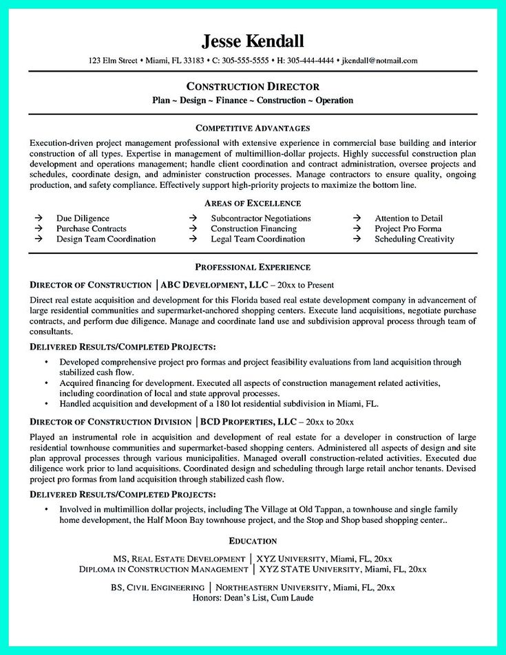 21 best Best Construction Resume Templates \ Samples images on - ems training officer sample resume