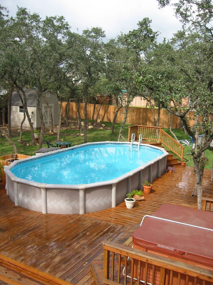 Above ground pool landscaping perfect steps for the dogs future home wants pinterest for Above ground swimming pool landscaping photos