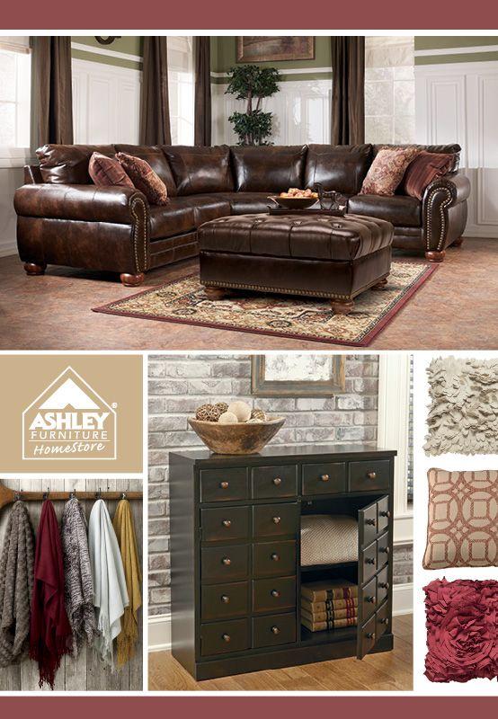 living room  leather  sectional  Lisbon DuraBlend. 101 best Ashley Furniture HomeStore images on Pinterest   Living
