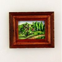 Miniature Painting - Landscape with Lilac Tree