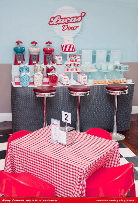 RETRO Diner Party - Love the idea of filling bubblegum machines with pink, blue and black candies!