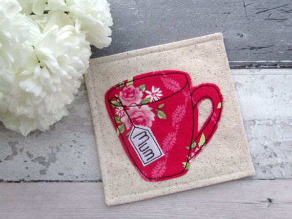 Gift for Mum, Mum Coaster, Fabric Coaster, Personalised Gift For Mum, Floral Gift, Gift For Her, Pink Coaster, Mother's Day Gift