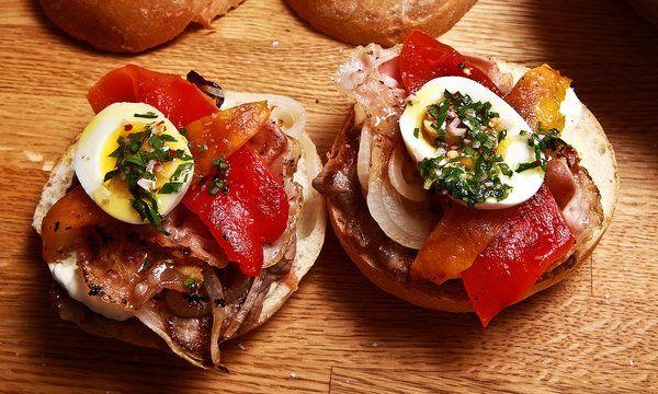 Chivito steak sandwich with chimichurri. Photo: Fred R. Conrad/The New York Times