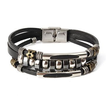 Punk Unisex Bracelet Leather Beads Health Bracelet online - NewChic Mobile