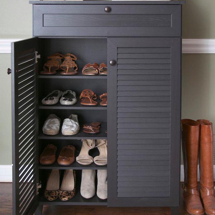 Brown Shoe Storage Cabinet