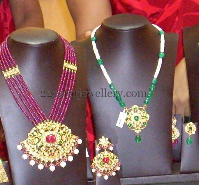 Jewellery Designs: Ruby Emerald Latest Beads Long Sets