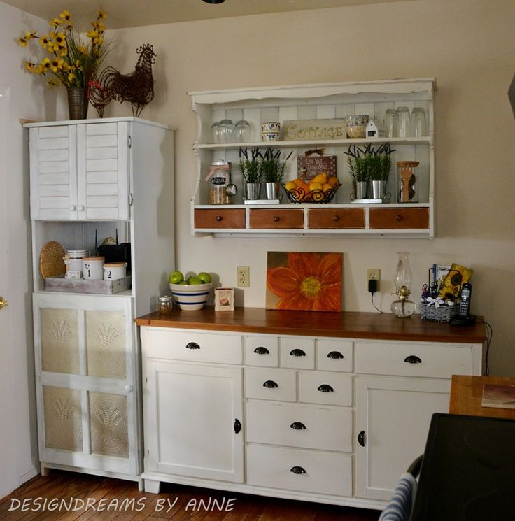 Custom shelving from a hutch topper