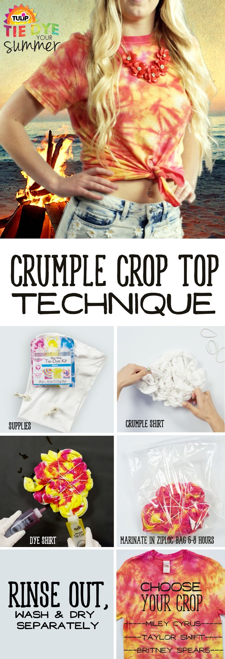 Make this DIY cropped tee using Tulip One-Step Tie-Dye!  Such a cute look for a festival or night out! #tiedyeyoursummer  (LINK HERE: tiedyeyoursummer.com/white-to-wow.html