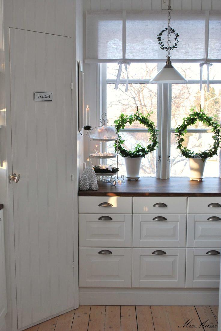White cabinets + dark wood countertops
