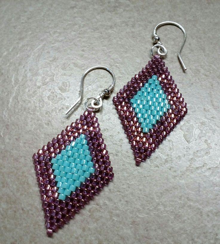 #285 Σκουλαρίκια με χάντρες /Seed bead earrings with silver plated handmade hooks