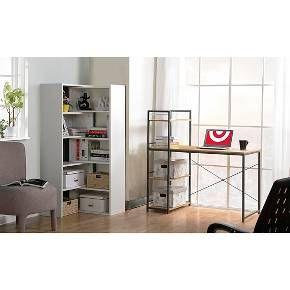 Desk with Built In 4 Shelf Bookcase Natural Wood - Homestar : Target