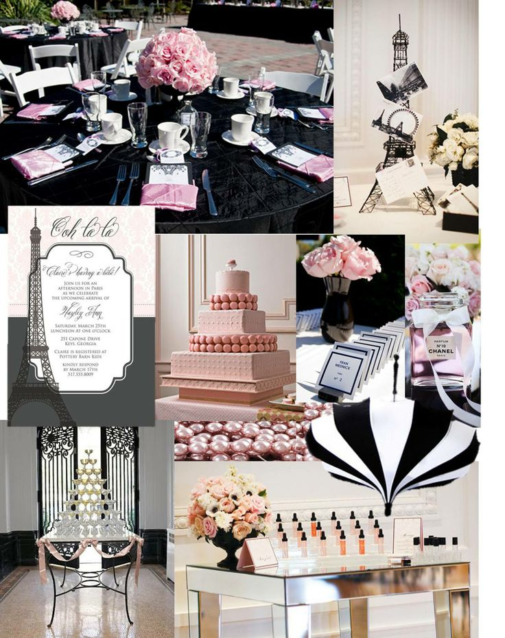chanel bridal shower, pink, black and white, stripes,