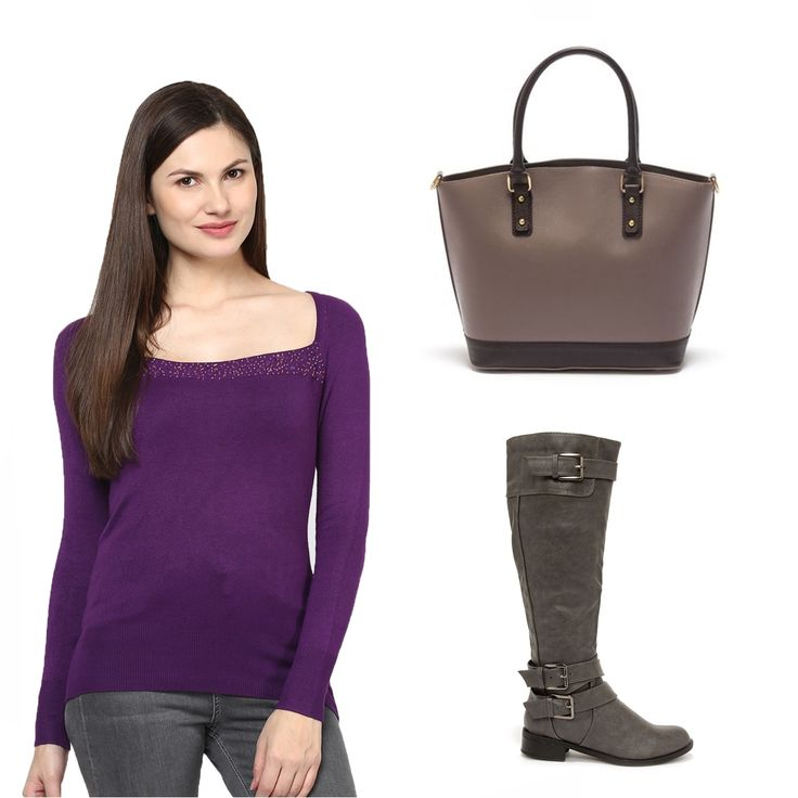 #OOTD: Your favorite purple sweater can be worn with this grey #IsabellaRhea bag.