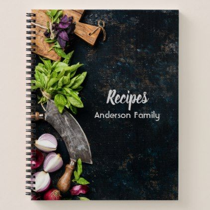 Rustic cookbook notebook dark canvas herbs food - family gifts love personalize gift ideas diy