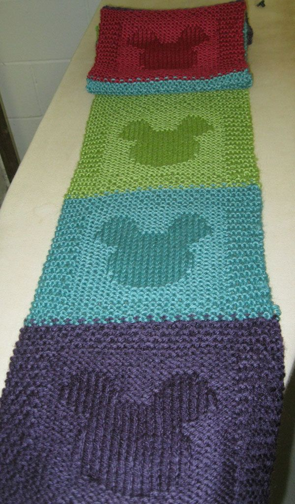 Mickey Mouse Scarf OMG! I have to knit this!! Only I think I will make a baby blanket instead!!