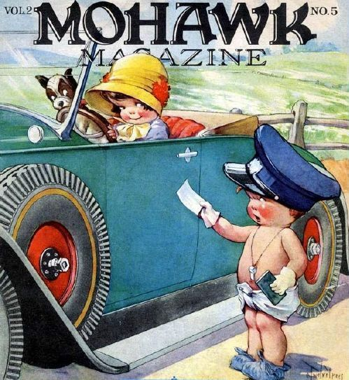 Mohawk Magazine (cover) that's a Boston terrier in the front seat.