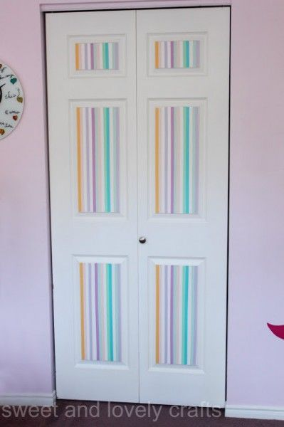 washi tape home decor - closet doors, Sweet and Lovely Crafts