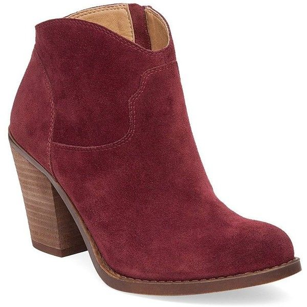 Lucky Brand Eller Western Leather Booties ($63) ❤ liked on Polyvore featuring shoes, boots, ankle booties, ankle boots, red, red cowboy boots, lucky brand booties, short cowboy boots and western boots