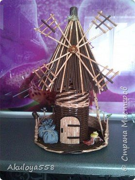 Поделка изделие Плетение Очередная мельница Трубочки бумажные фото 1