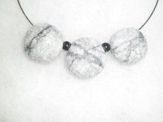 Neklace from wool  grey felted stones. Wool by EmisaFelt on Etsy