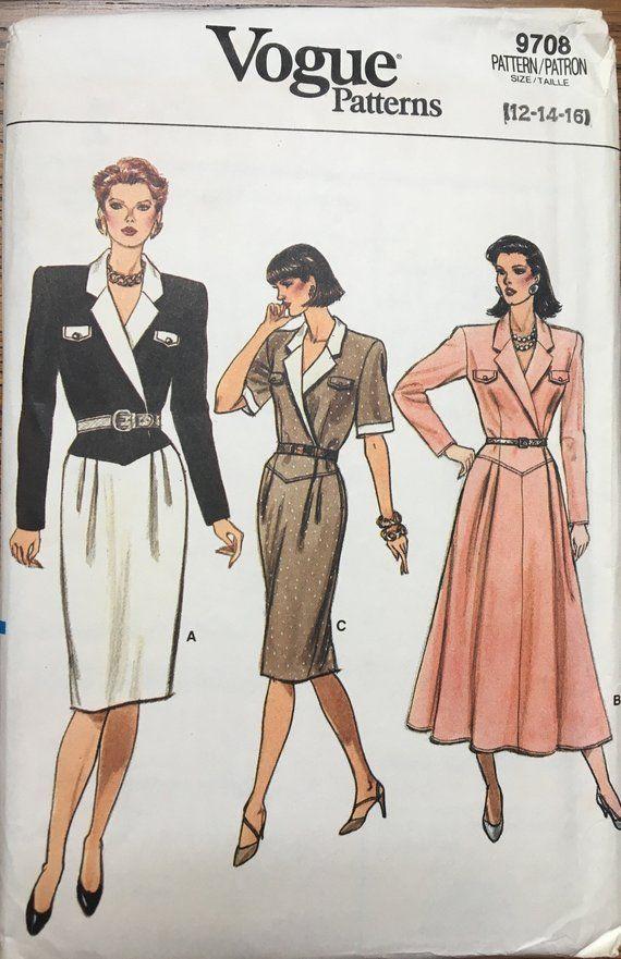 511fbc2d0a58f 80s Vogue 9708 UNCUT vintage sewing pattern sizes 12-14-16 Misses' Dress in  3 versions, 1980s fashio