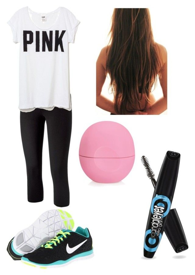 Late for school by jasminedb on Polyvore featuring Victoria's Secret, SO, NIKE and Eos