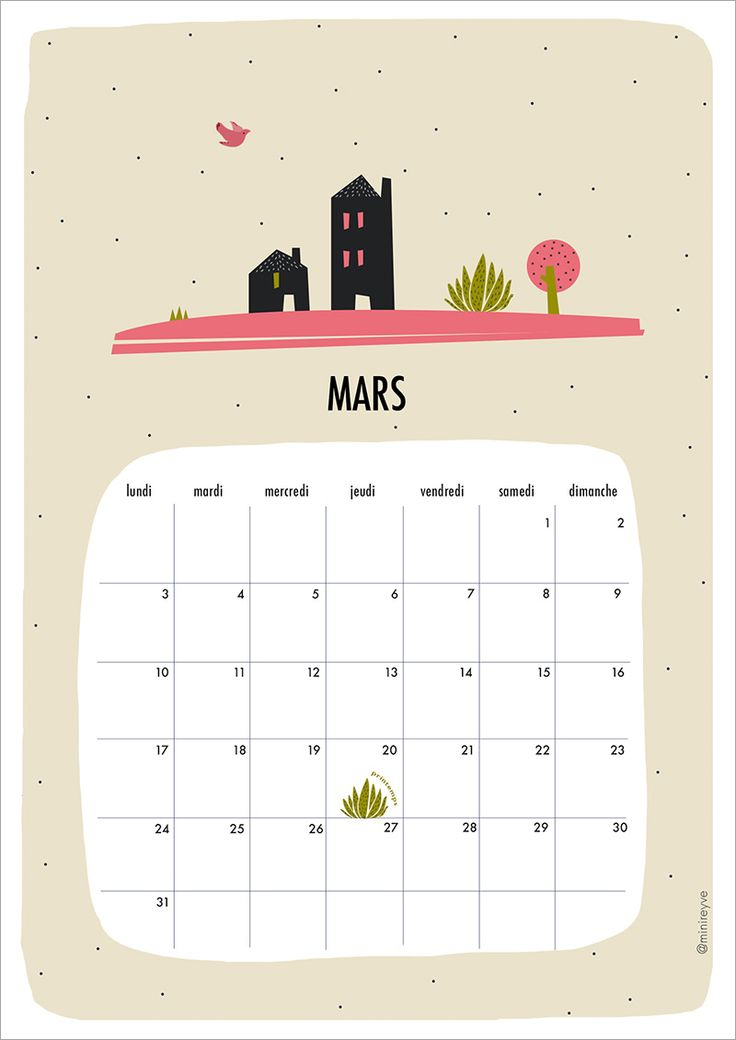 calendrier minireyve mars calendar
