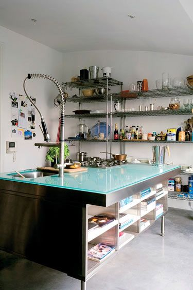 stainlesskitchens with open shelves [LOOK AT THE GLASS-TOP ISLAND!]
