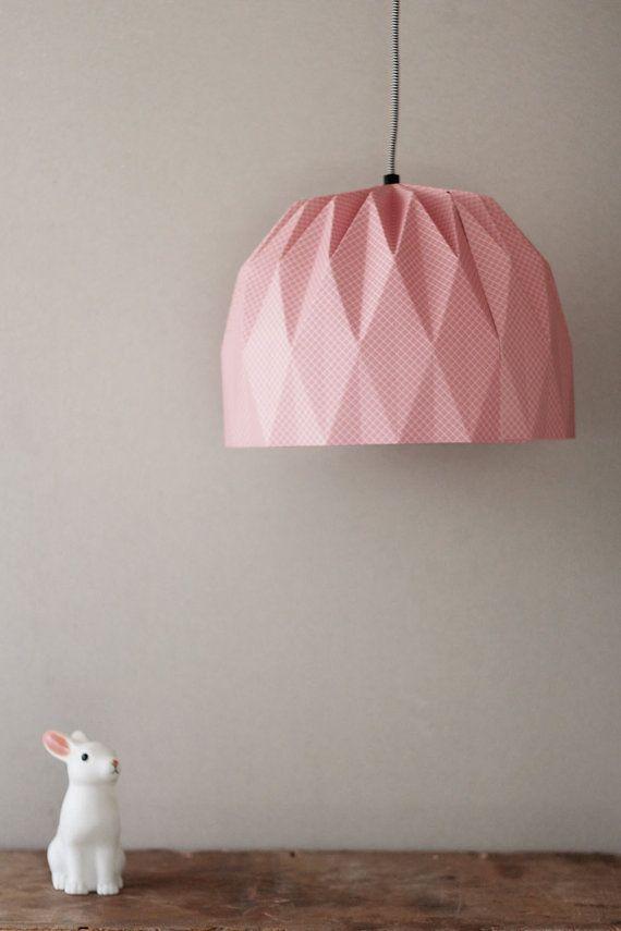 Grote Origami Lamp roze geruite opknoping lampenkap roze
