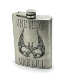"Do you have that love for hunting and the drive to keep your passion alive? if so then this custom flask may just suit your needs and show everyone how much you love hunting. This cool flask feautres a custom laser engraved front that features a very detailed set of deer antlers and the words ""One Shot One Kill"". So if you want to step up your gift giving game then get your hands on one of these before we sell out."