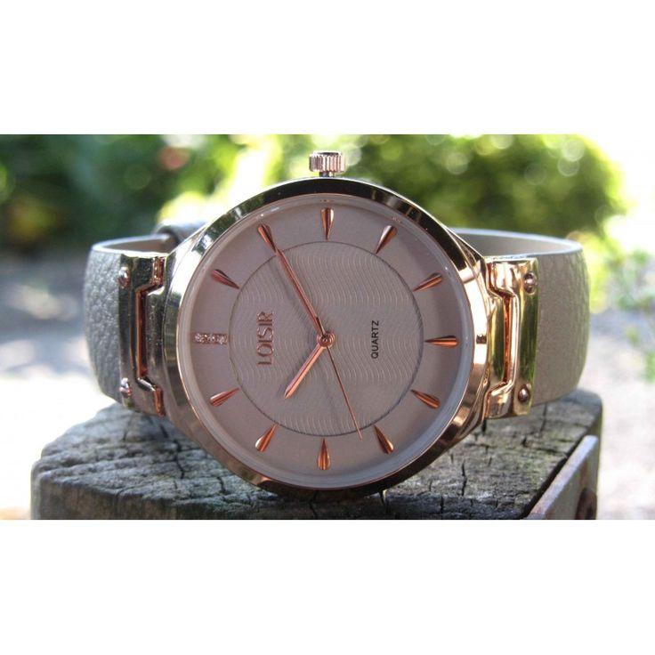 LOISIR 11L65-00069 dameshorloge - grijs leer horlogebandje - 38 mm - RVS - AperfectGift.nl - horloges en sieraden van LOISIR
