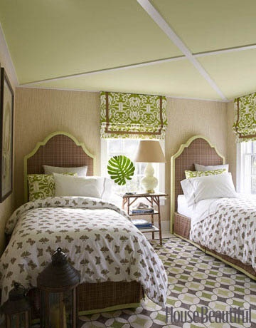 everything from the rug, to the headboards, bed linens, ceiling treatment, to the bamboo table is simply divine in this bedroom!!! extremely successful design.