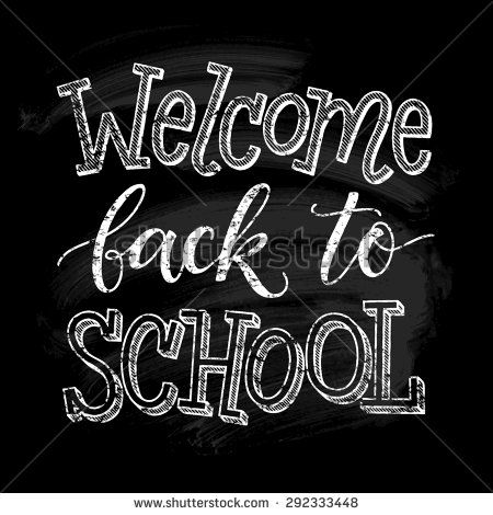 Welcome back to school vector illustration on chalkboard background. Hand drawn lettering