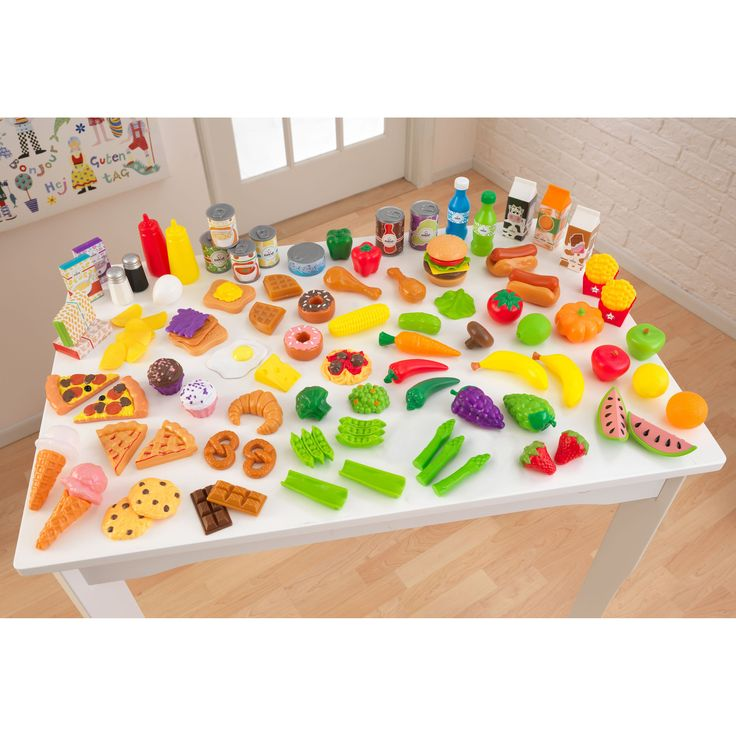 KidKraft Tasty Treats Pretend Play Food Set - The KidKraft Tasty Treats Pretend Play Food Set has your child's grocery list covered. This large assortment of fruits, veggies, meats,...