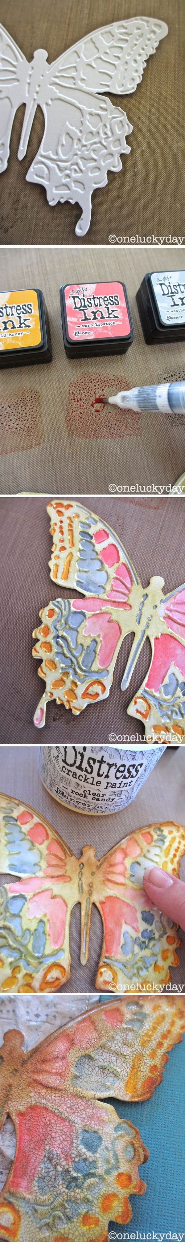 Tutorial: pressure embossing painted with Distress Inks, by Paula at One Lucky Day