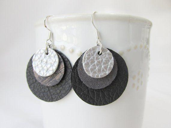 Layered Leather Circle Earrings Custom Leather EarringsEssential Oil Diffuser Jewelry Boho Earrings Lightweight Minimalsit Drop Earrings