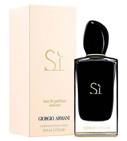ARMANI Sì eau de parfum intense 100ml    Sì Eau de Parfum Intense by Giorgio Armani accentuates the sensual and elegant facets of the Armani woman. The duality of an extremely seductive blackcurrant neo jungle essence, with just a hint of silky freesia, and a timeless chic intense chypre accord. A fragrance of passion, softly powerful, assertive and unmistakably feminine.