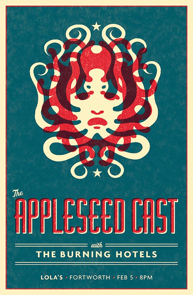 The Appleseed Cast concert poster, by Mike Harpin