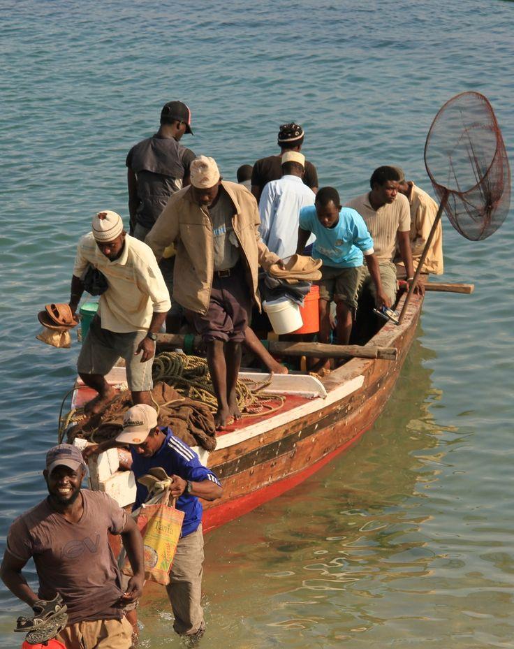 Fishermen returning to port, Stone Town.