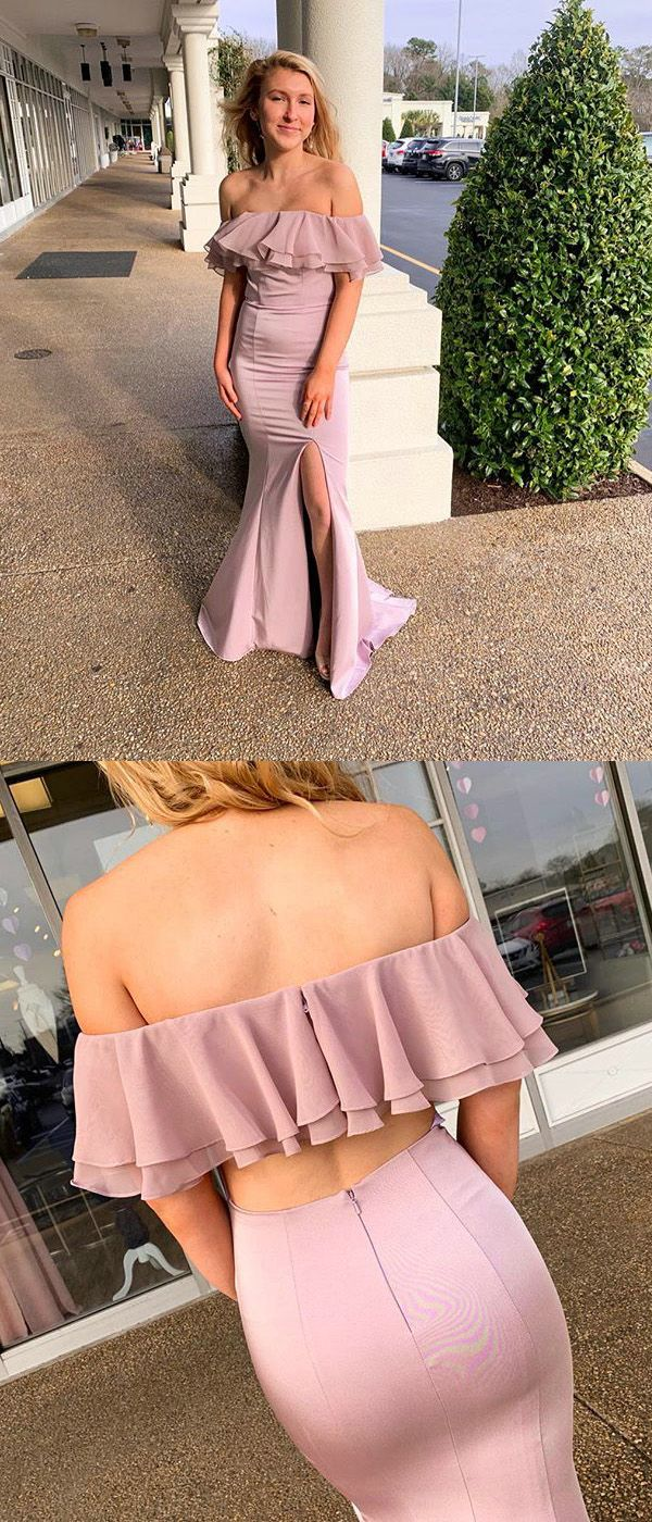 c36e2370b93 Off The Shoulder Blush Pink Prom Dresses with Ruffles Long Mermaid Prom  Gowns 2019