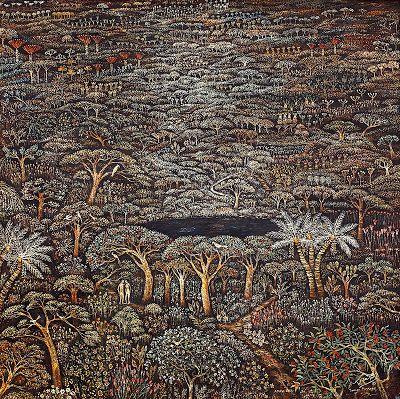 """Taman Firdaus"" by Widajat, Size: 150cm X 150cm, Medium: Oil on canvas, Year: 1985"