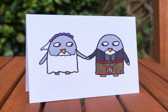 Scottish Wedding card Funny penguins Wedding by penguinparadeshop