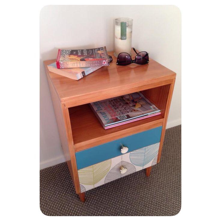 Retro bedside table. #teal #leaf  facebook.com/homecandynz