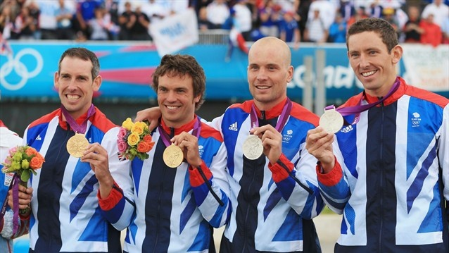Etienne Stott and Tim Baillie of Great Britain pose with their gold medals alongside silver medalists Richard Hounslow and David Florence of Great Britain during the medal ceremony after the men's Canoe Double (C2) Slalom final on Day 6 of the London 2012 Olympic Games at Lee Valley White Water Centre.